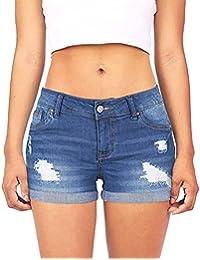 b04fe73368 MOIKA Jeans Femme Dechire Couleur Unie Casual Jeans Taille Haute Skinny  Short en Jean Grande Taille