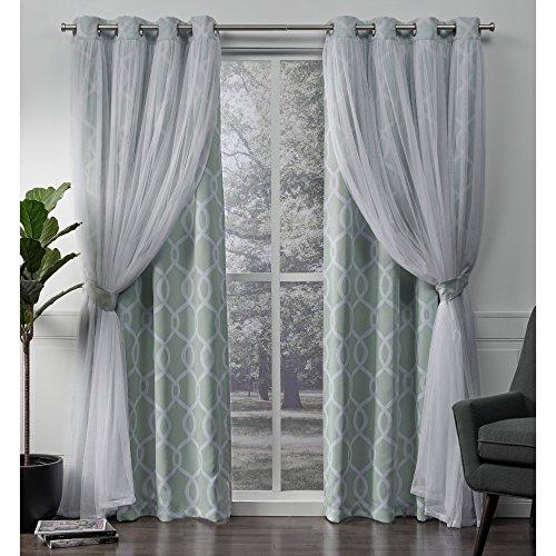 Exclusive home carmela layered geometrico oscurante e coppia sheer finestra tenda a pannello con occhielli, poliestere, aqua, 84x 52x 0.2cm