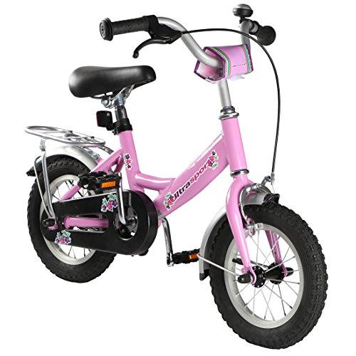 Ultrasport 331100000186, Bicicletta per Bambini da 3 Anni di età, Rosa, 12 Pollici