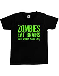 Fancy A Snuggle Zombies Eat Brains - Don't Worry You're Safe Kids Boys / Girls T-Shirt
