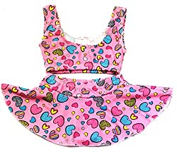 Kids Girls Swim 2 Piece Suit Light Pink Heart Cartoon Print (Swimming Costume Swimwear & Beach Wear)