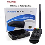 FREE SAT V7 HD DVB-S2 Receptor de TV Vídeo Digital Broadcasting Set Top Box Compatible con USB PVR EPG PowerVu DRE & Biss Key for TV HDTV (B)