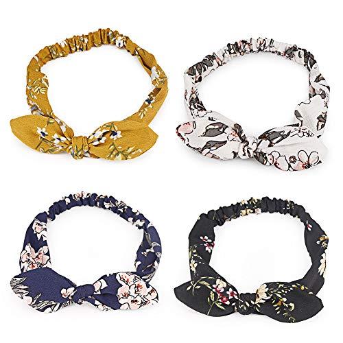 Diadema con lazo para mujer, diseño de orejas de conejo, cinta para el pelo elástica bohemia con nudos, 4 unidades