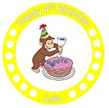 Curious george cake topper edible wafer sheets personalised 7.5 inch