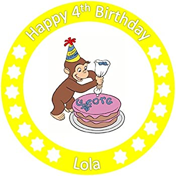 """7.5/"""" PERSONALISED ROUND EDIBLE ICING CAKE TOPPER CURIOUS GEORGE PARTY 7"""