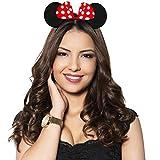 Hatstar Haarreifen mit Maus Ohren | Mouse Ears in schwarz mit roter Schleife und weißen Punkten für Kinder und Erwachsene