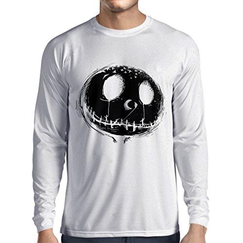 Langarm Herren t Shirts beängstigend Schädel Gesicht - Alptraum - Halloween-Party-Kleidung (Large Weiß Mehrfarben)