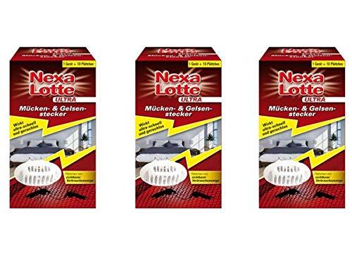 3x Nexa Lotte Ultra Mücken- und Gelsenstecker Elektroverdampfer Plättchenverdampfer gegen Stechmücken und Gelsen