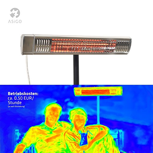 Gardigo Edelstahl Infrarotstrahler Heizstrahler, Terrassenstrahler wärmt gezielt Menschen, 2000 W, Deutscher Hersteller - 2