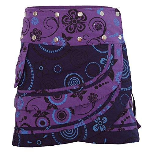 PUREWONDER Damen Wickelrock Baumwolle Rock mit Tasche sk182 Lila Einheitsgröße verstellbar -