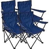 Black Snake - 4x sedie da regista, pieghevoli, in diversi colori, con porta bevande, blu navy, Taglia unica