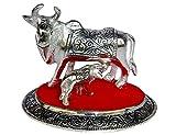 #6: JaipurCrafts Kamdhenu Cow and Calf Showpiece - 10.16 cm (Aluminium, Silver, Red)