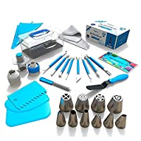 Frostinc 34 Pcs Cake Decorating Supplies Kit Russian Piping Tips Baking Supplies Set Cake Helper for Cake Lover