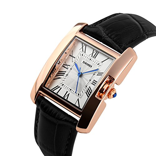 Ilove EU Mujer Reloj De Pulsera 30m Resistente al agua banda de cuero analógico de cuarzo reloj reloj deportivo con rectangular Números Romanos Esfera Negro