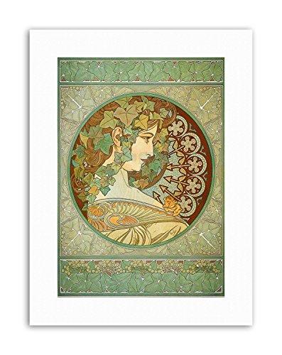 Wee Blue Coo LTD Alphonse Mucha Laurel 1901 Poster Painting Old Master Canvas Art Prints Blue Laurel