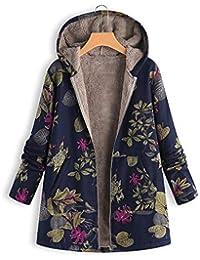 Abrigos Mujer, Hanomes Womens Winter Warm Outwear Estampado Floral Bolsillos con Capucha Abrigos de Gran tamaño Vintage