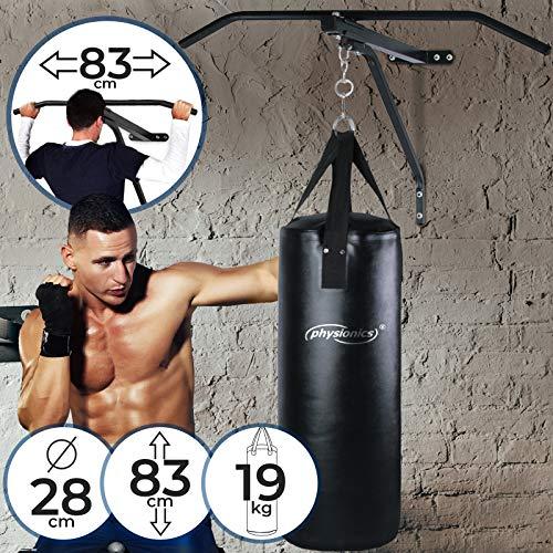 Physionics® Sacco da Boxe con Barra per Trazioni | Punching Bag: (ØxA) 28x83cm / Quattro Cinghie Resistenti, Barra: in Acciaio / 83 cm Larga, a Parete | Pull-up Bar, Arti Marziali