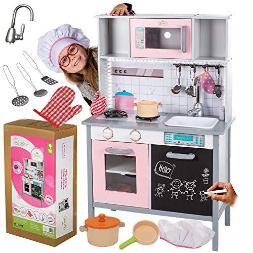 Kinderholzküche Kinderküche Holzküche Kinderspielküche GS0054 Weiss Holz Spielzeugküche LED Spielküche mit Schränken Mikrowelle Spülbecken - Tür als Kreidetafel