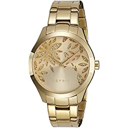 Esprit Women's Lily Dazzle Quartz Watch with Gold Dial Analogue Display and Gold Stainless Steel Strap ES107282003