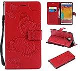 Hozor Samsung Galaxy Note 3 / SM-N9000 Handyhülle, Retro Großer Schmetterling Muster PU Kunstleder Ledercase Brieftasche Kartenfächer Schutzhülle mit Standfunktion Magnetverschluss Flip Cover Tasche, Rot