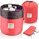 Brown Leaf ® Bucket Barrel Shaped Travel Dresser Pouch Cosmetic Makeup Bag For Girl Women (Red)