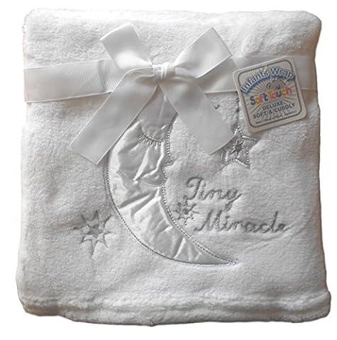 Bébé unisexe Superbe Lune étoiles Tiny Couverture Miracle Blanc 76cm x 76cm environ