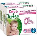 Love & Green - Couches Bébé Hypoallergéniques 0% -  Taille 5 (11-25 kg) - Lot de 2 x 26 couches (52 couches)
