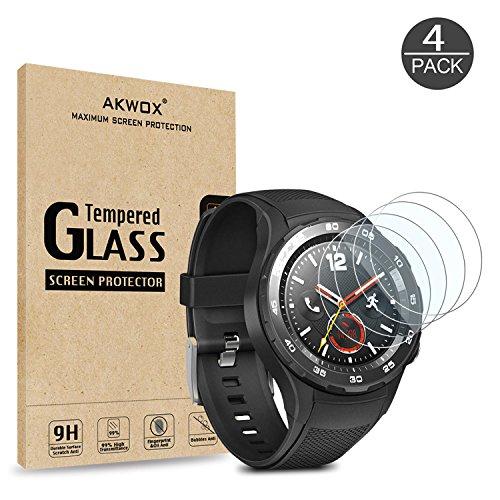 Akwox 4 Stück Schutzfolie für Huawei Watch 2 Panzerglasfolie 9H Härtegrad 0.3mm Kratzfest HD Glasfolie für Huawei Watch 2