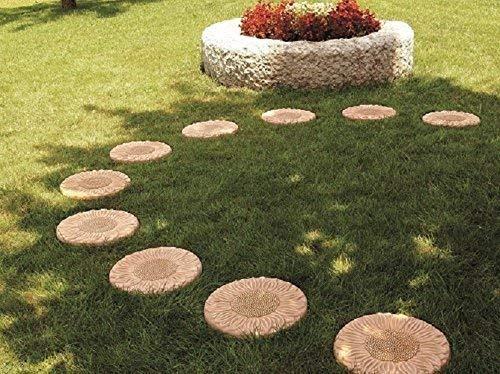 passi in terracotta da giardino (5 pezzi) pavimentazione per esterno -piastrelle decorogirasole; altezza cm. 3,5, diametro cm. 31.