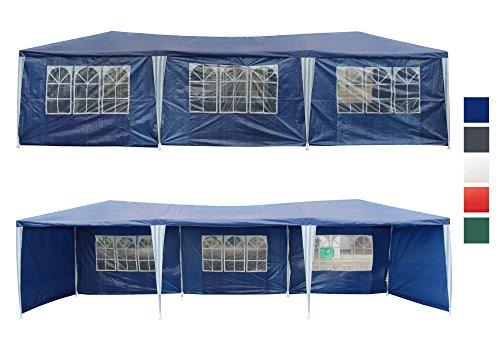 Festzelt 9x3 m Partyzelt mit 8 Seitenwänden Blau Bierzelt Gartenzelt wasserabweisend Pavillon TYP GZ-039-8