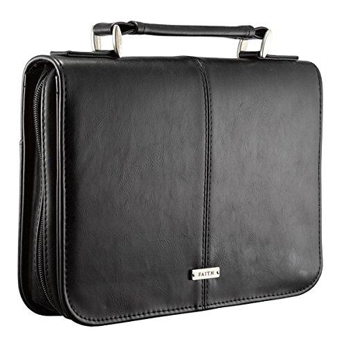 black-lux-leather-bible-cover-faith-badge-medium