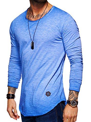 Behype Herren Oversize Basic Longsleeve O-Neck Shirt 30-3751 Blau M (T-shirt Top Division Blaues)