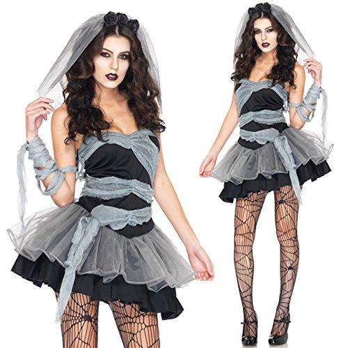 Zombie Sexy Kostüm Braut - glantop Sexy Damen Halloween Zombie Braut Horror Ghost Kostüm Hexe Fancy Kleid Party