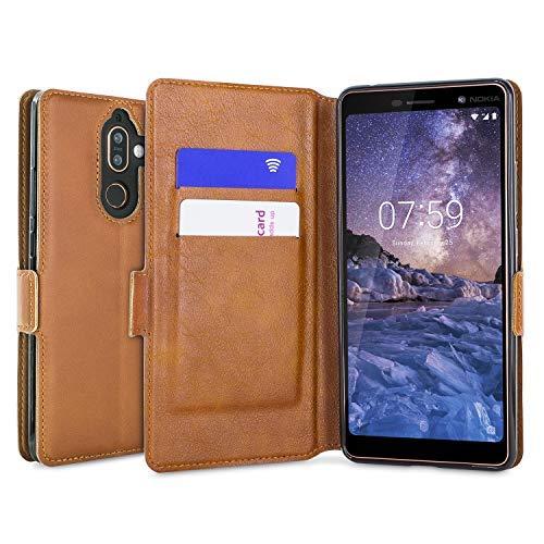 Olixar - Custodia a portafoglio per Nokia 7 Plus, in vera pelle, sottile, con scomparti per carte di credito e supporto integrato, colore: Cognac