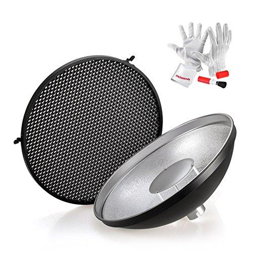 Godox AD-S3 Blitzgerät Zubehör Beauty Dish Reflektor mit Honeycomb Grid für Godox AD180 AD360 AD360II AD200 Speedlite mit Pergear Reinigung Set
