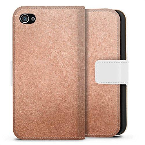 Apple iPhone X Silikon Hülle Case Schutzhülle Metall Rose Gold Look Sideflip Tasche weiß