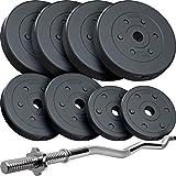 ScSPORTS® 35 kg Hantel-Set mit SZ-Stange gerändelt, verchromt mit 2X Sternverschluss und 8 Kunststoff Hantelscheiben