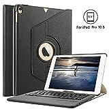 Ipad Pro 10.5 Bluetooth Tastatur Hülle, Boriyuan 360 Grad drehbar Leder Case Schutz Tasche Cover mit Bluetooth Wireless Tastatur (Deutsche QWERTZ) keyboard case für Apple iPad Pro 10,5 Zoll (Schwarz)