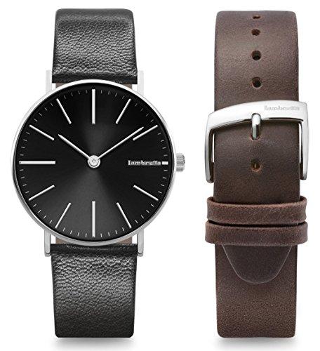 Lambretta Cesare 42 - Reloj de pulsera para hombre, correa negra y marrón