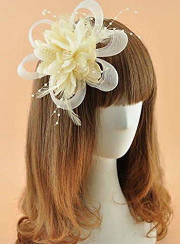 Fascigirl Chapeau de Cérémonie Bibi Chapeau Voilette Mariage Fleur Cheveux pour Femme Beige