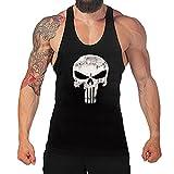 West See Herr Mann Tops Tank Tankshirt Vintage Skull Totenkopf T-Shirt Weste Muscleshirt Print (EU L, Schwarz)