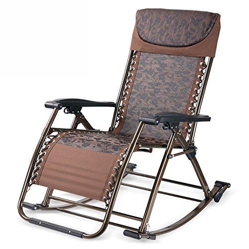 ZCJB Fauteuil À Bascule Multifonctionnel Chaise De Sagesse Chaise De Santé Chaise Longue Chaise Longue Pliante Salon Chaise De Bureau À Double Usage (Couleur : Café)
