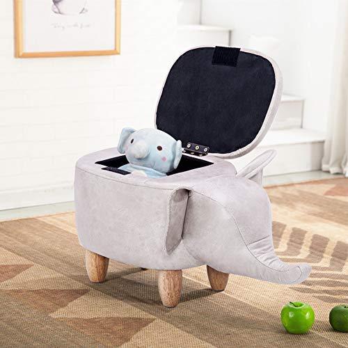 Tier Sitzhocker mit Stauraum, Kinderhocker Fußablage Sitzwürfel aus Leder Massivholz, Tierlagerhocker Kreativen Hocker Fußhocker Sitzbank Sitzcube Family Kinderzimmer Wohnzimmer Schlafzimmer Elefant