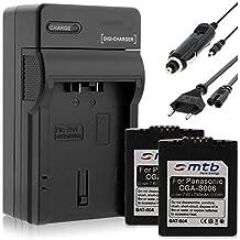 2 Batterie + Caricabatteria (Auto/Corrente) S006 per Panasonic Lumix DMC-FZ18 FZ30 FZ50... / Leica V-LUX 1