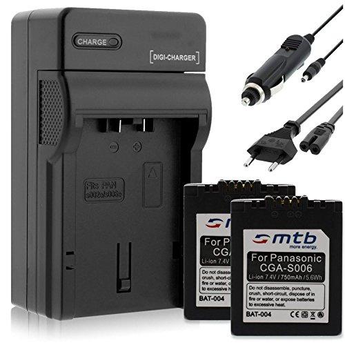 2 Batteries + Chargeur pour pour Panasonic CGA-S006 / Lumix DMC-FZ7 FZ8 FZ18 FZ28 FZ30 FZ38 FZ50... / Leica V-LUX 1