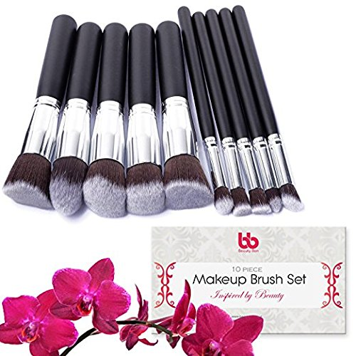 Beauty Bon Lot de 10 pinceaux de maquillage professionnels, vegan, avec manches en plastique, idéal pour appliquer l'anticernes, le fond de teint, les fards et les poudres