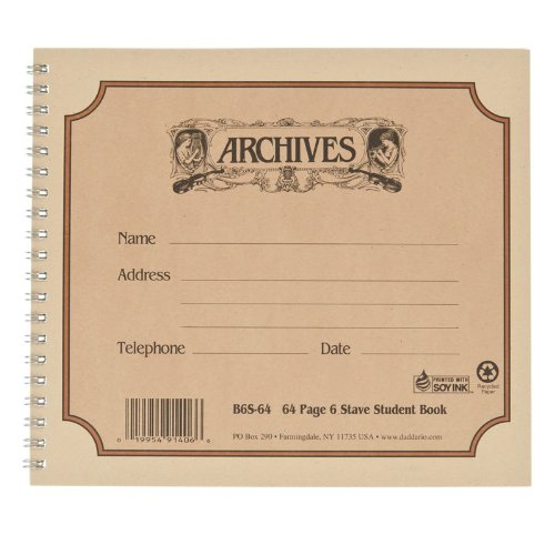 D'Addario B6S-64 Notenbuch für Schueler (6 Notenbalken 64 Blatt)
