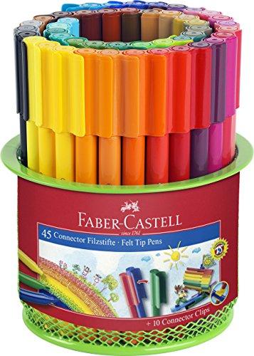 Faber-Castell 155545 - Cubilete de metal con 45 rotuladores conectores y 10 conectores de colores, multicolor