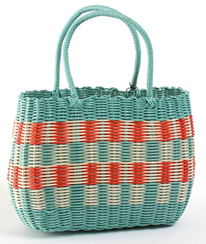 Retro Woven Shopping Basket 1940s and 50s Vintage Style Aqua Bag