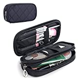 MLMSY Make-up-Tasche für Frauen mit Spiegel Beauty Make-up Pinsel Taschen Reise-Kit Organizer Kosmetiktasche Professional Multifunktions 2 Layer Organizer (schwarz) (A:Trompete)